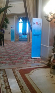 Hallway with Nielsen Norman Group banners
