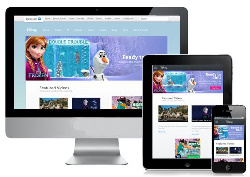Disney's website at desktop, tablet and mobile phone sizes