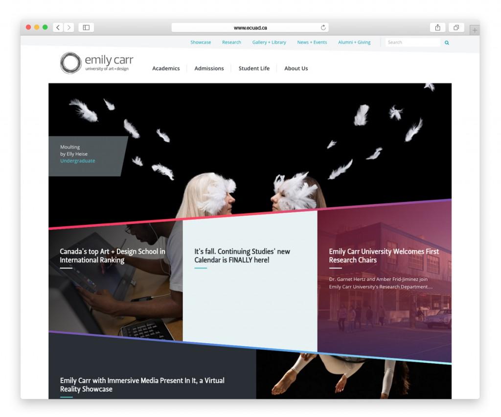 Emily Carr University of Art + Design Website Homepage award winning website