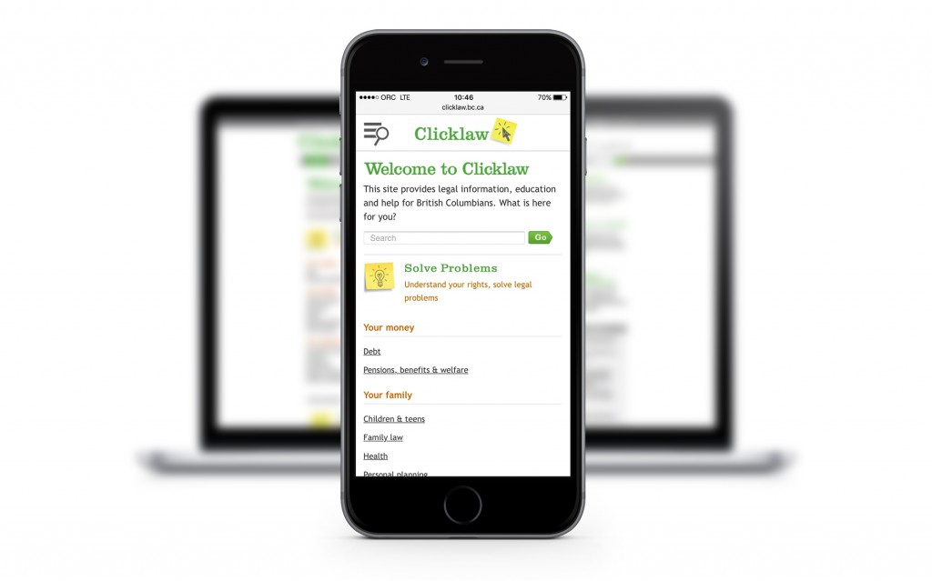Clicklaw mobile-optimized site on iphone