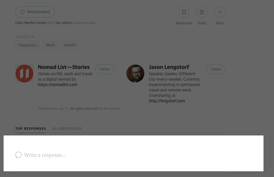 Commenting on an Article on Medium with Highlighted comment block