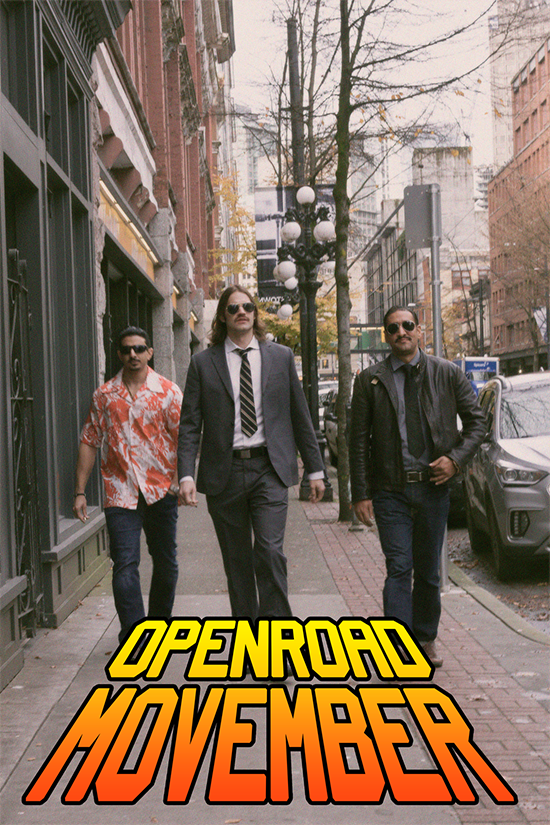 OpenRoad (OXD) Movember-3 team members with moustaches walking through Gastown