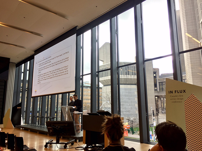 Gordon Ross of OXD speaking about service design at the In FLUX conference in Toronto, ON