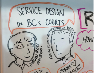 Comic of Gordon Ross of OXD and Kevin Conn of BC Ministry of Justice speaking about service design