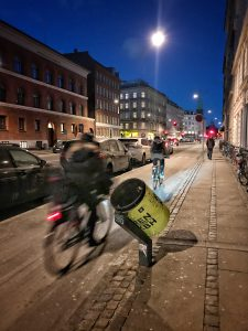 And example of great design in Copenhagen: Garbage cans on the street are angled so cyclists can dispose of their trash without stopping.