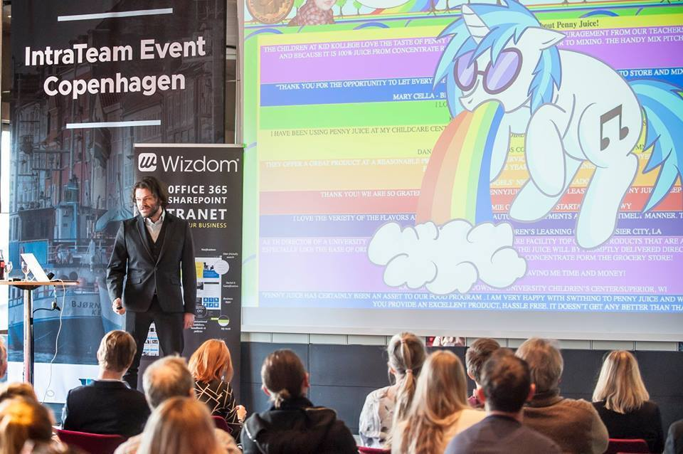Wil Arndt, Creative Director for OXD, talks about visual design and brand at IntraTeam Copenhagen event 2018