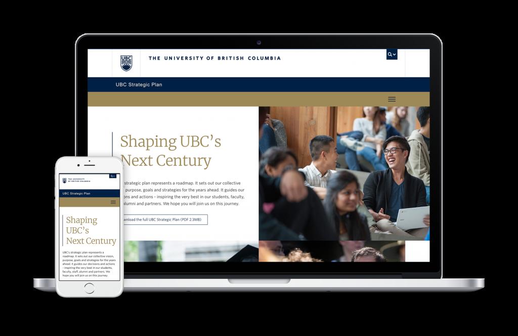 "UBC's strategic plan, ""Shaping UBC's Next Century"" website shown on laptop"