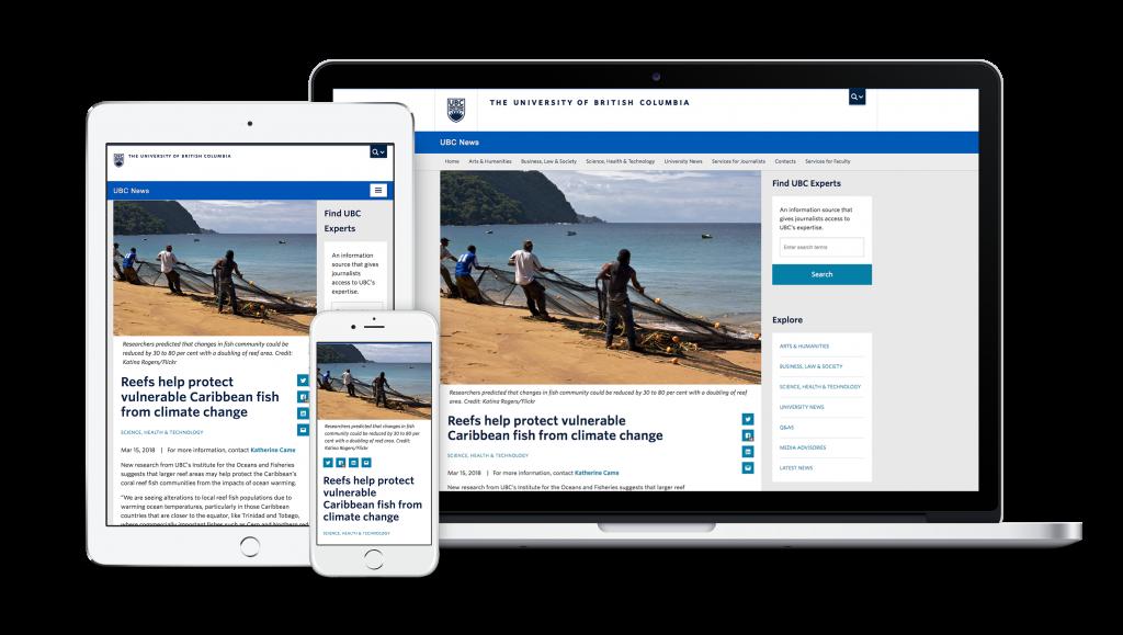 UBC News website designed by OXD