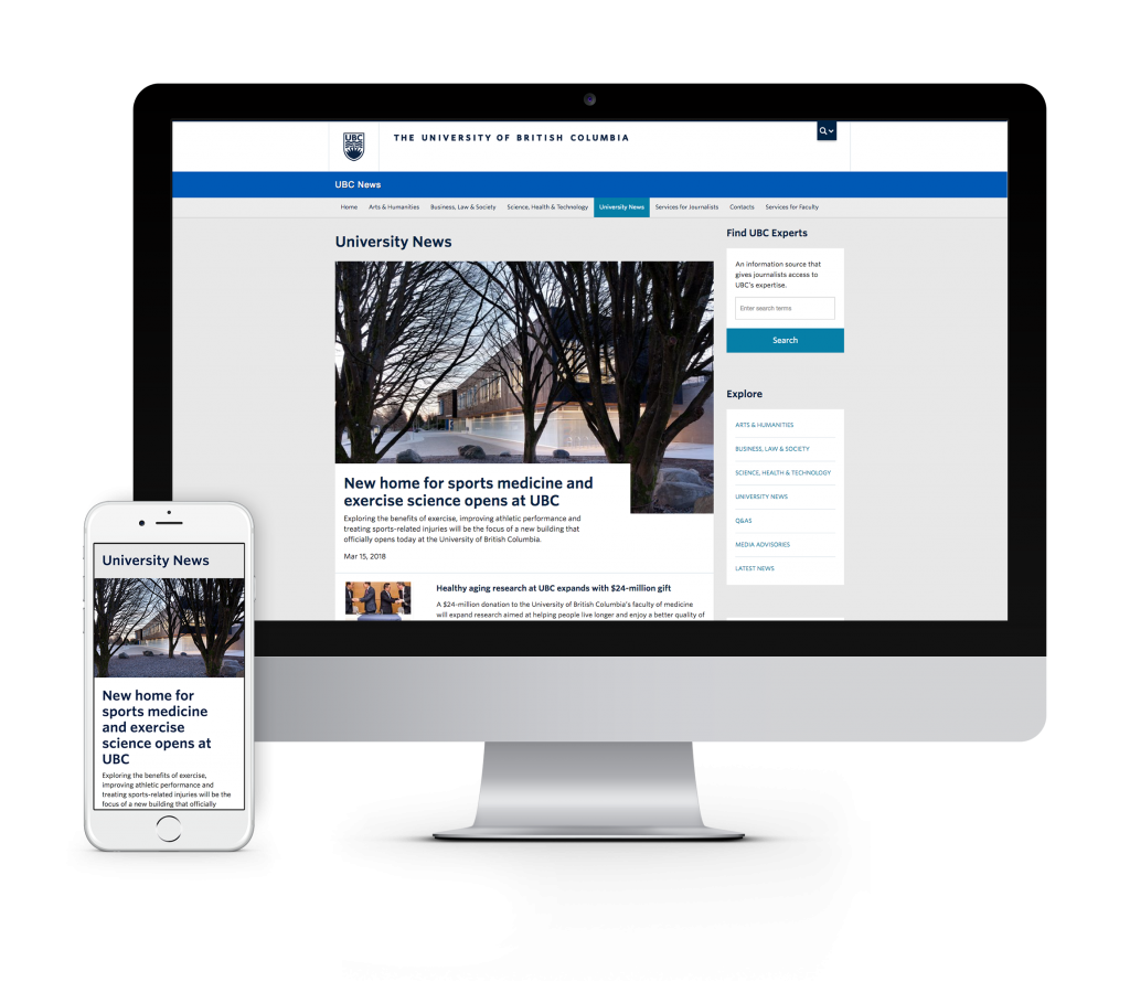 Desktop version of UBC homepage shown on iMac and mobile version shown on iPhone