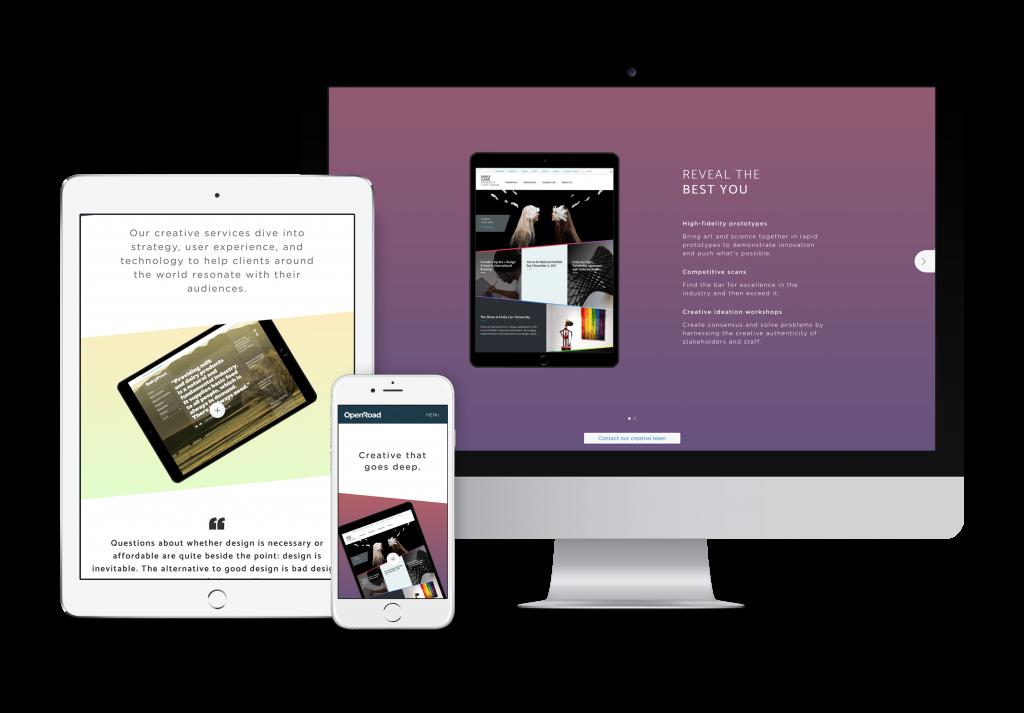 OXD website design shown on desktop, tablet, and mobile formats