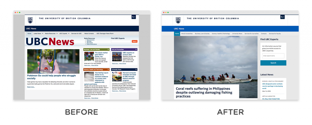 UBC News homepage before and after redesign