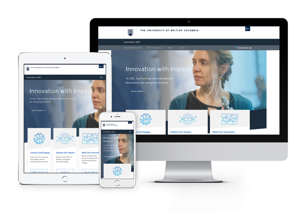 UBC Innovation initiative website shown on computer, mobile and tablet