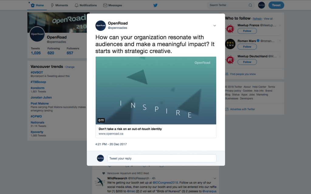 OXD Tweet 'How can your organization resonate with audiences and make a meaningful impact? It starts with strategic creative'