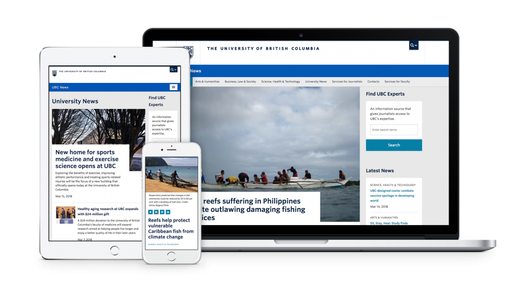 ubc news website redesign examples on MacBook Pro, iPad, and iPhone