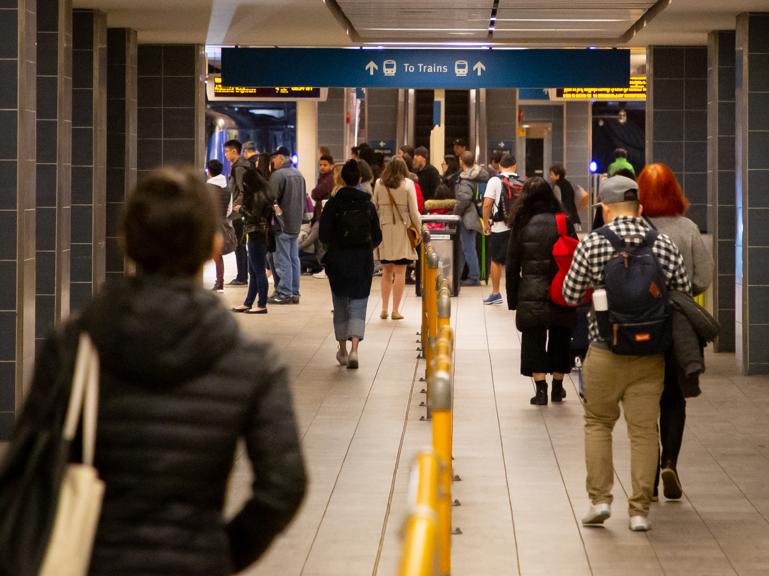 People waiting for TransLink public transportation