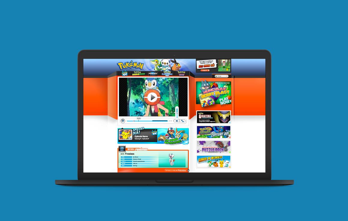 Pokémon website page on laptop