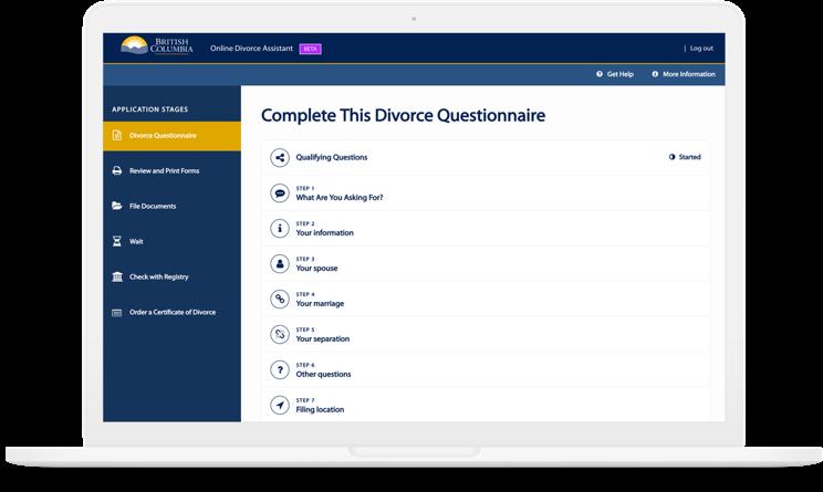 online divorce assistant forms