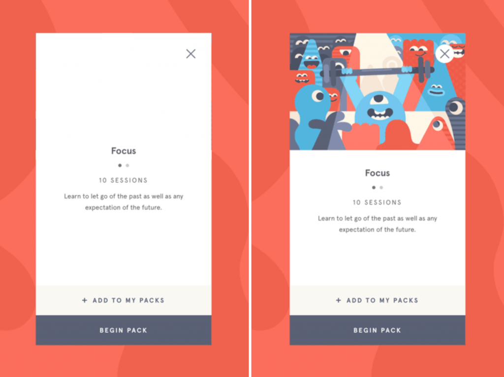 Headspace app showing left screen has no illustration. Right shows an illustration style setting an emotional tone.