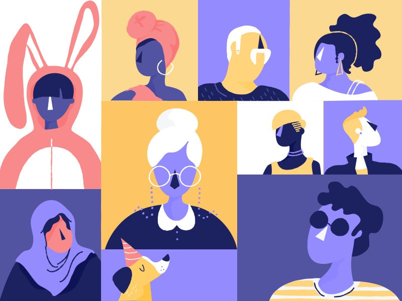 Shopify's illustration using colour to show diversity.