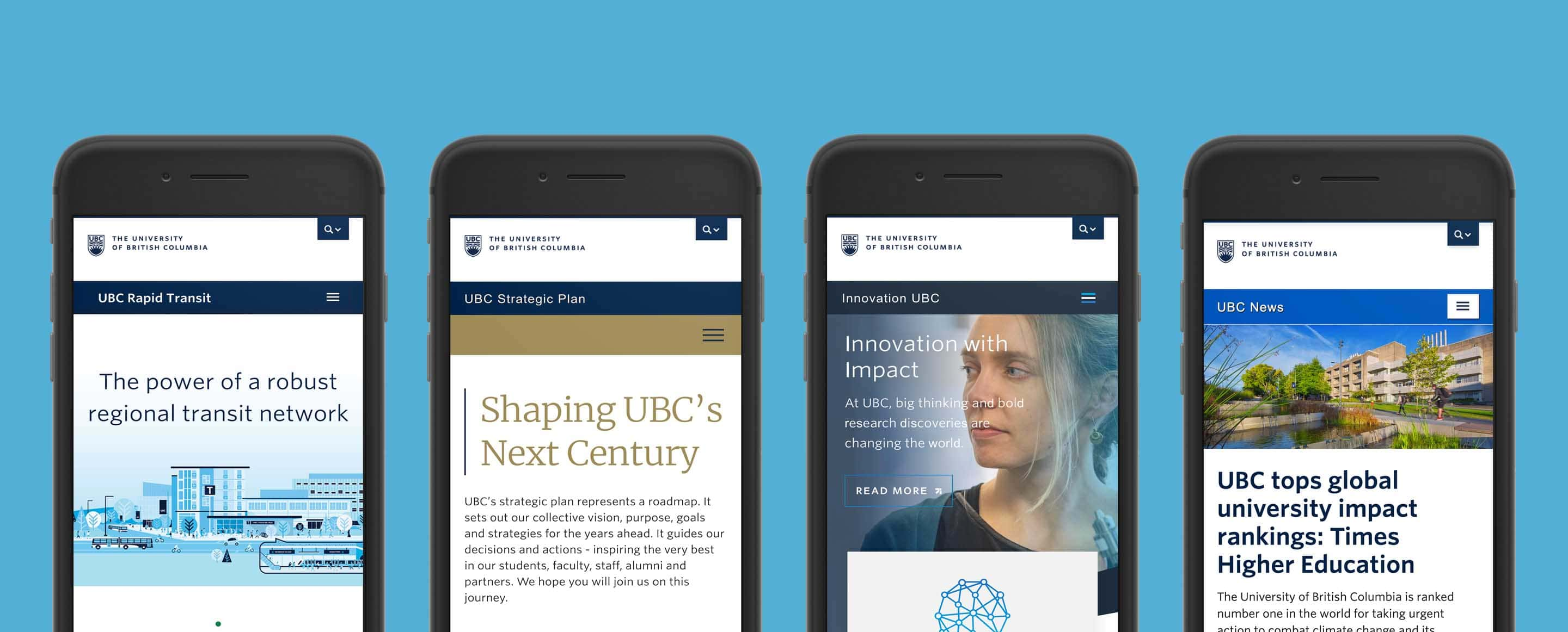 Four iPhones showing the mobile website for UBC