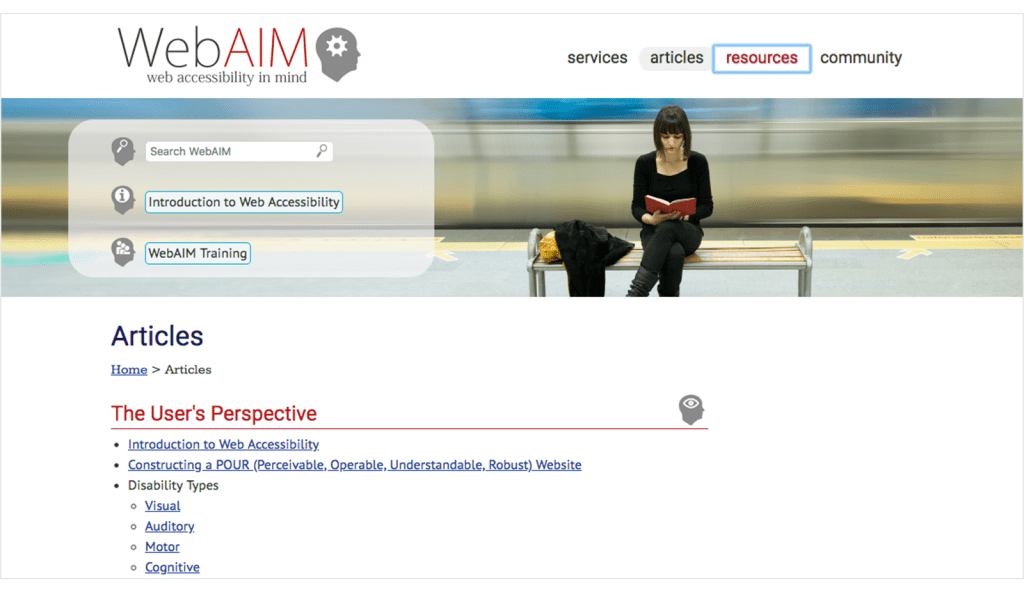 screenshot of WebAIM accessibility website