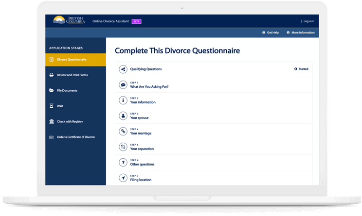 OXD Divorce Assistant form shown on a laptop that won OXD a 2019 Communicator Award