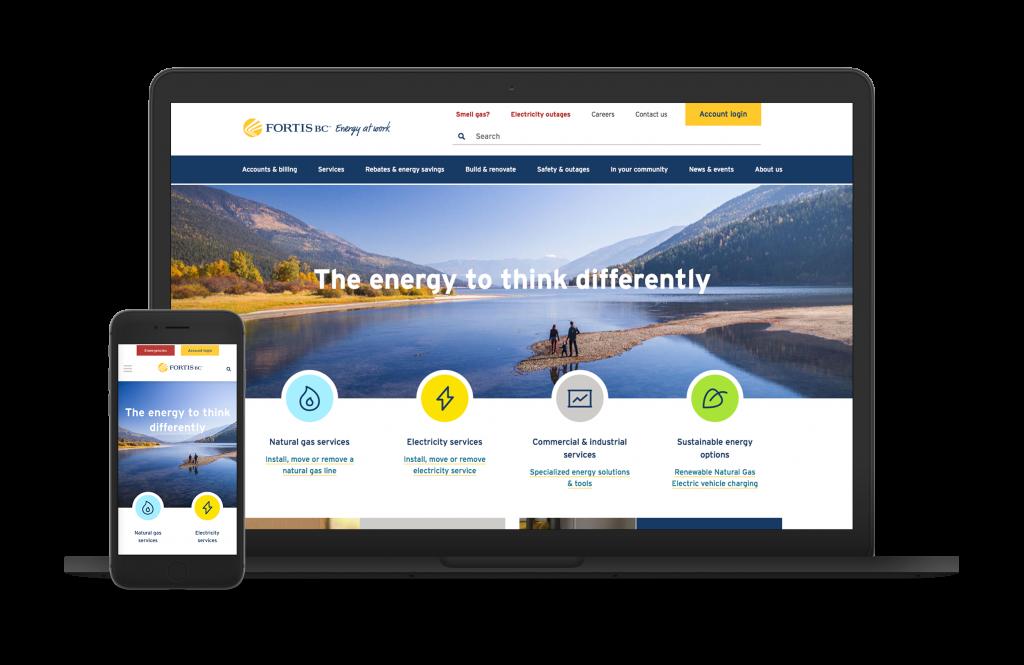 FortisBC website redesign shown on desktop and mobile