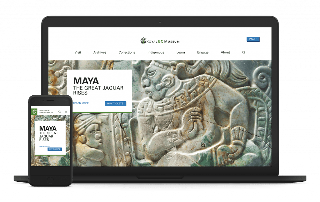 OXD redesigned Royal BC Museum's website shown on laptop