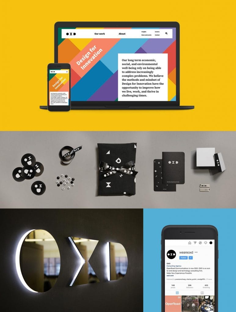 Images of OXD's rebrand design and illustration