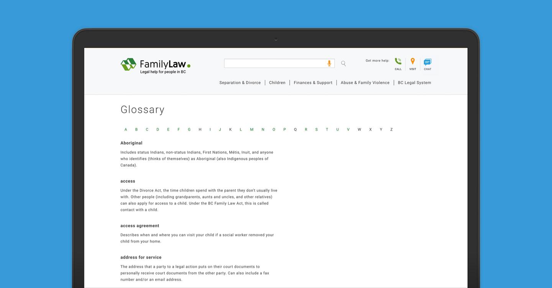 BC Family Law Glossary screenshot