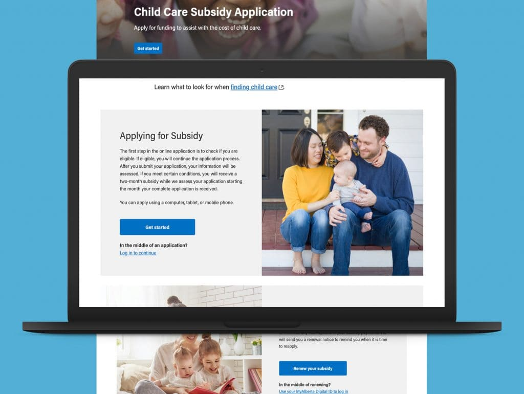 Image of Subsidy application home page on laptop after modernization over a blue background