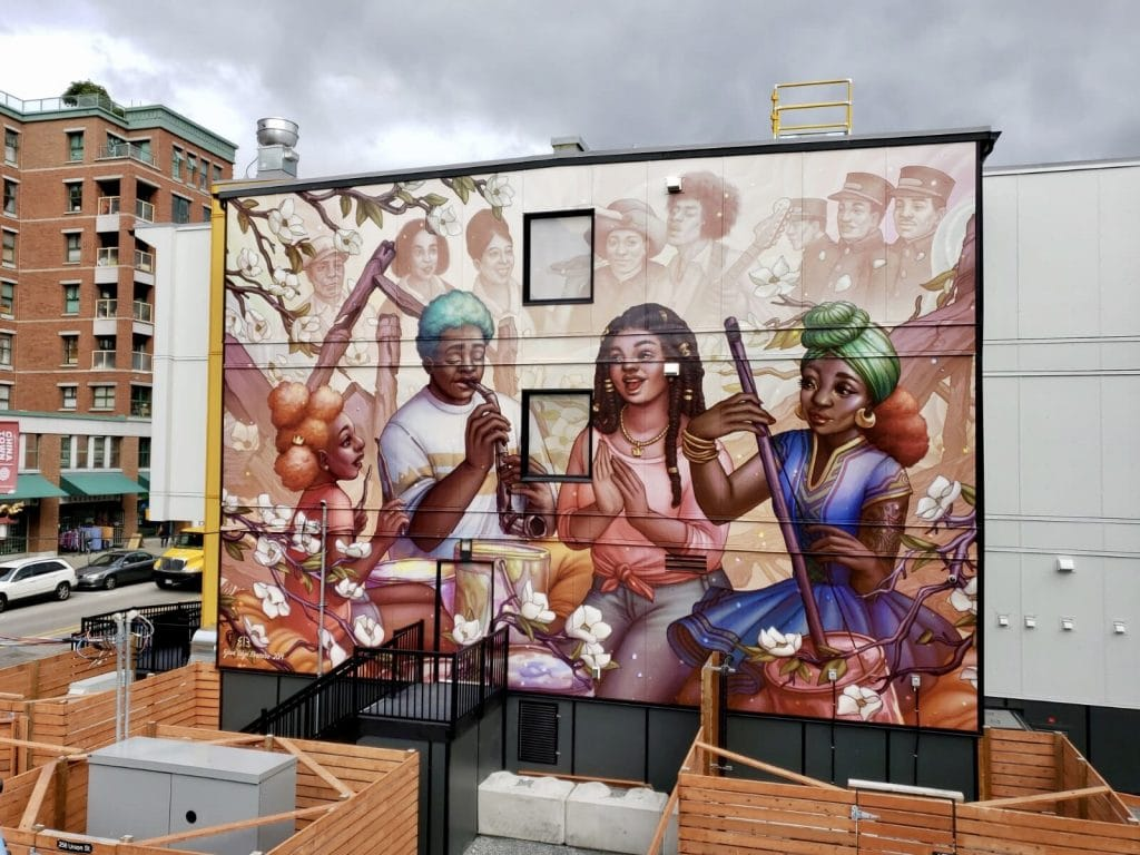 """Image of mural artwork by Ejiwa """"Edge"""" Ebenebe, ArtOfEdge.com. Mural Site is located at 258 Union St, Vancouver, BC V6A 3A1, Canada - photo courtesy of UnoDigital.com"""