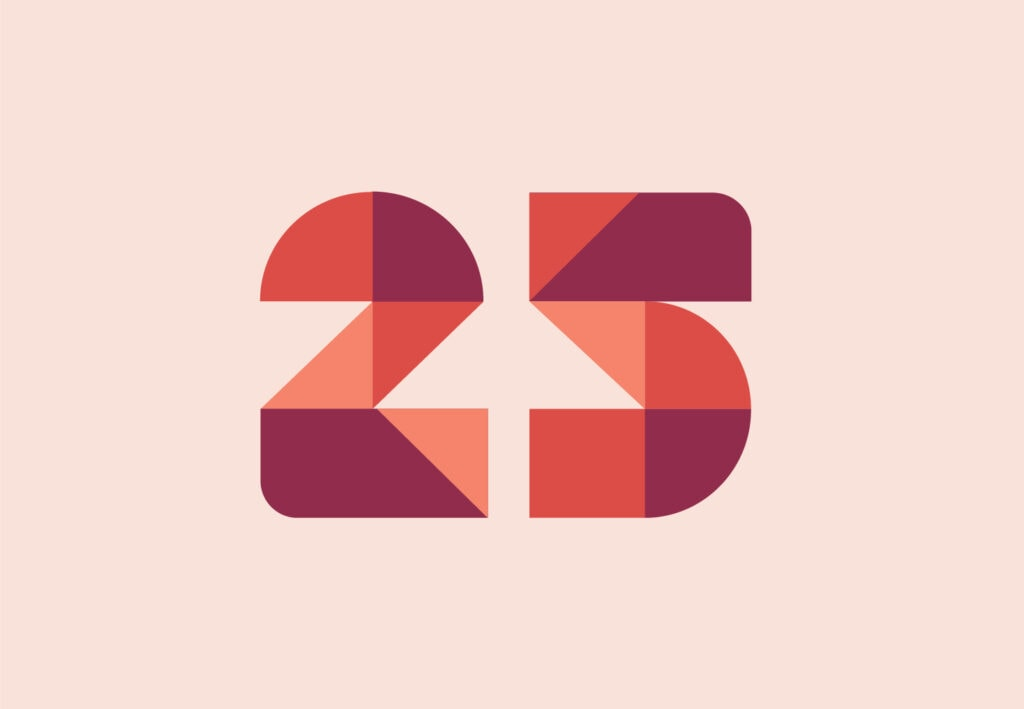Illustration of the number 25, representing the anniversary of OXD, a human-centred design agency