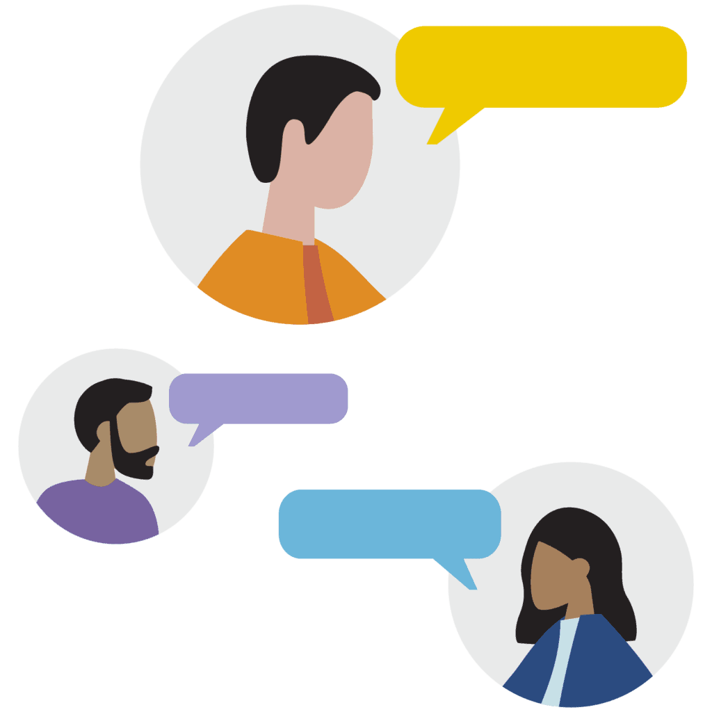 illustration showing people talking with talk bubbles