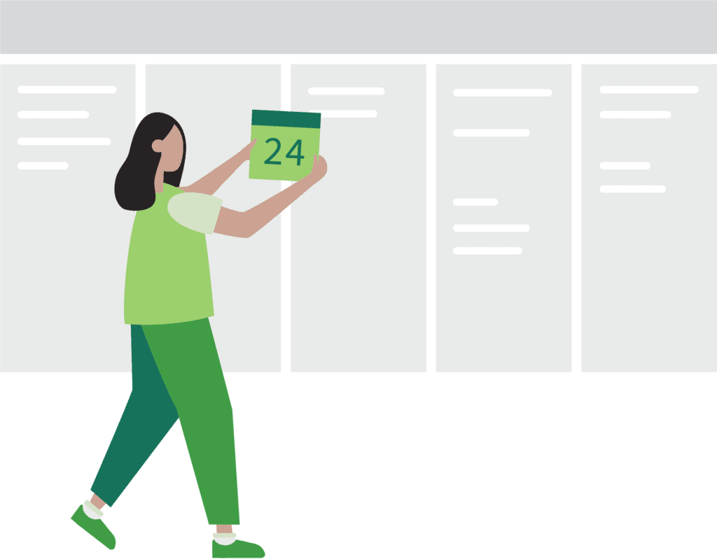 Illustration showing a greyed-out timeline and a women holding up a calendar date
