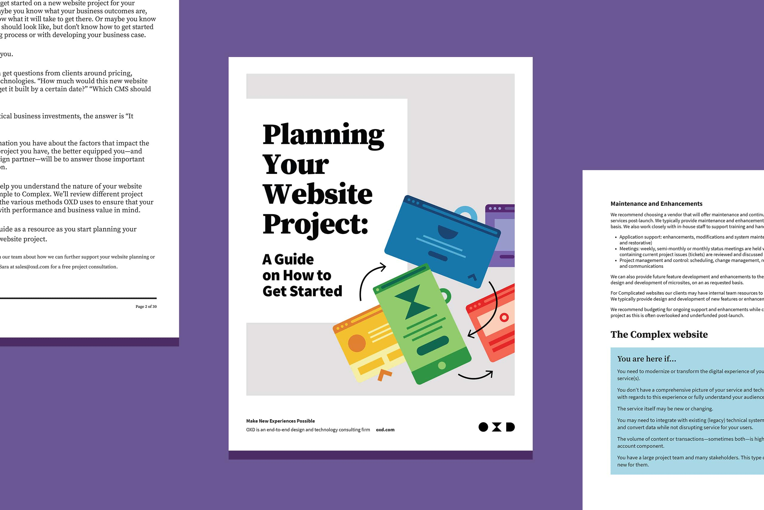 """Purple background with a guide cover """"Planning your website project"""""""
